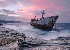 The Semiramis cargo ship at the coast of Andros Island Greece_resultat Abandoned Ships, Abandoned Cities, Beautiful Islands, Beautiful Places, Beautiful Ruins, Beautiful Scenery, Beautiful Pictures, Andros Greece, Costa