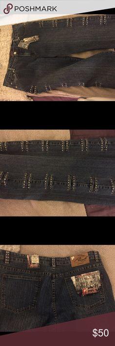 NWT Jeans with crystal decorative slits Jeans with decorative slits down the side of both pant legs NEVER WORN Platinum Plush Pants Straight Leg