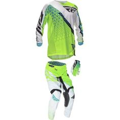 Dirt Bike Fly 2016 Kinetic Combo - Trifecta   MotoSport Pant: Lime/White/32 Jersey: Green/white/large Glove: Lime/White/Large