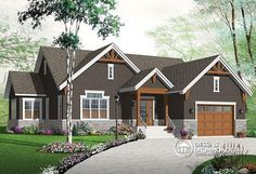 front - BASE MODEL New Craftsman house plan, large kitchen island, central fireplace, open floor plan layout - Kipling 4 The Plan, How To Plan, Craftsman Ranch, Craftsman House Plans, Craftsman Style, Tudor Style Homes, Ranch Style Homes, Tudor House, House Plans And More