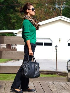 green cardigan, black pants, leopard scarf