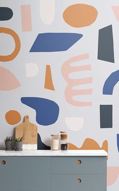 Naive Shapes is a graphic wallpaper collection from MuralsWallpaper that celebrates 150 years since the birth of Henri Matisse. Unusual Wallpaper, Normal Wallpaper, Standard Wallpaper, How To Hang Wallpaper, Graphic Wallpaper, Modern Wallpaper, Geometric Wallpaper, Wall Wallpaper, Pattern Wallpaper