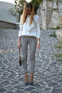 Skinny's with dressy shirt- CLASSY