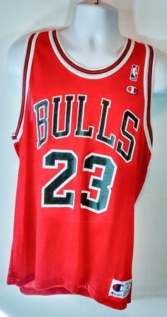 0c96695cb7a0 Michael Jordan  23 Chicago Bulls Black  amp  Red Home Champion Jersey Size  44 Vtg