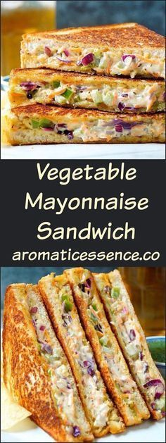 Vegetable mayonnaise sandwiches make for a quick snack or appetizer or even a yummy accompaniment during tea time. Although they aren& the healthiest of sandwiches, it& nice to indulge on some once in a blue moon or serve them during Veg Recipes, Indian Food Recipes, Vegetarian Recipes, Cooking Recipes, Indian Sandwich Recipes, Vegetable Sandwich Recipes, Cooking Kale, Korean Recipes, Italian Recipes