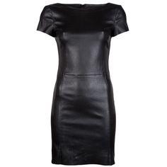 Drome Leather Dress ($1,665) ❤ liked on Polyvore featuring dresses, vestidos, short dresses, black, leather, kohl dresses, mini dress, leather dress, short sleeve dress and back zipper dress