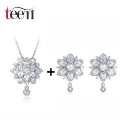 Teemi Luxury New Fashion Clear CZ Crystal Wedding Party Flower Pendant Necklace Earring Set for Women Princess Jewelry Set Girls