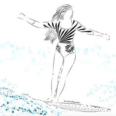 surfer girl, surfillustration by @inspiredbyocean