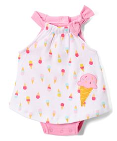 Take a look at this White & Pink Sweet Ice Cream Cone Bodysuit today!