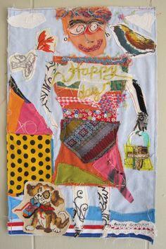 myBonny OH HAPPY DAY Fabric Folk Art Collage Assemblage