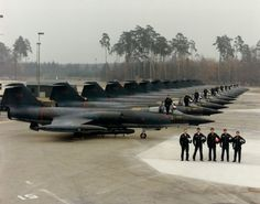 Lineup of Canadian CF-104 Starfighter jets at an airbase