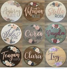 Perfect nursery wall decor for your floral nursery of baby shower backdrop. Custom round name signs personalized. You choice of colours and fonts. Nursery Name, Nursery Signs, Nursery Wall Decor, Girl Nursery, Disney Nursery, Cute Baby Names, Baby Girl Names, Baby Boys, Baby Shower Backdrop