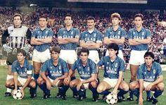 REAL OVIEDO 16 de septiembre de 1989. Real Oviedo,2 Barcelona, 0. De pie, de izquierda a derecha: Zubeldia, Bango, Gorriarán, Sañudo, Rivas y Luis Manuel. Agachados, en el mismo orden: Berto, Viñals, Sarriugarte, Zúñiga y Carlos.