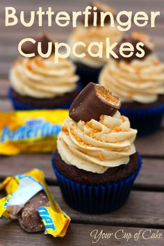 The Story: I made a Butterfinger Cupcake about a year ago and they were AMAZING. But my photos were…not so great back then, so I decided I needed to update them. And now it's perfect time with the Halloween season kicking into high gear. So maybe you can sneak a few Butterfingers from your kid's.