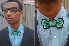 8-Bit Bow Tie - for the date of the person wearing the pixilated stockings.