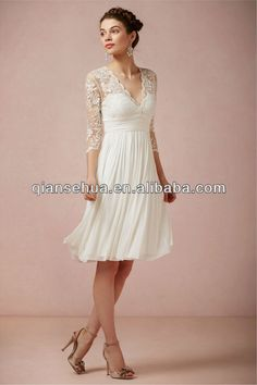 2013 Sexy V Neck See Through Ruffles A Line Open Back Corset White A Line Fashion Gown Lace Long Sleeve Short Wedding Dresses