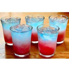 Bomb Pop Shots ========== *Green Apple Vodka Cranberry - Apple Juice  Sobe Piña Colada Drink  Blue Gatorade The ones in the photo are virgin...
