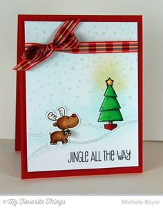 Jingle All the Way stamp set and Die-namics, Snowfall Background, Stitched Snow Drifts Die-namics - Michele Boyer #mftstamps