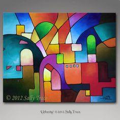 Peinture abstraite, peinture acrylique, peinture acrylique, paysage urbain cubiste peinture sur toile, urbanité, cubisme