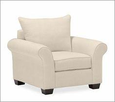 GET METAL GRAY PB Comfort Roll Upholstered Knife-Edge Cushion Armchair #potterybarn