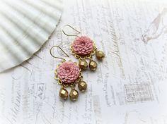 Mauve Chrysanthemum Chandelier earrings by HappyTearsbyMicah