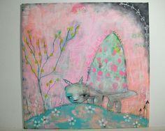 Turtle painting folk art mixed media original painting 30x30 cms canvas board - Seeker of all that is true