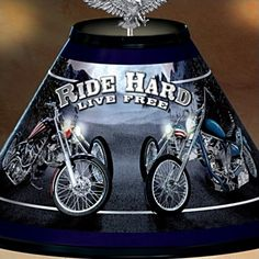 Patriotic American Eagle Chopper 15-Inch Tall Table Lamp: Freedom Rider - detail 2