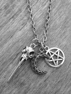 Raven Skull, Crescent Moon & Pentagram Necklace
