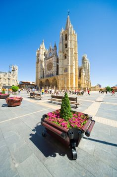 View top-quality stock photos of Leon Cathedral Leon Spain. Cathedral Basilica, Spanish Architecture, Basque Country, Balearic Islands, Spain And Portugal, Spain Travel, Pilgrimage, Places To See, Around The Worlds