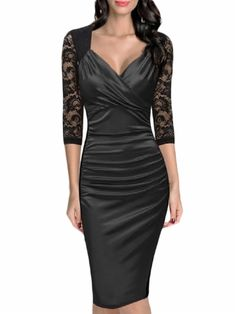 47c5e538a kup Women s Dress V Neck Three Quarter Sleeve Lace Patchwork Midi Sexy  Dress   Sukienki -