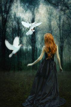 White Doves by pegico on DeviantArt Beautiful Fantasy Art, Dark Fantasy Art, Dreamy Photography, Fine Art Photography, Elfen Fantasy, Magical Pictures, Black Fairy, Dream Fantasy, White Doves