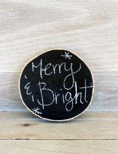 Wood Slice Chalkboard, Tree Slice, Wedding, Menu Sign - Letter Kay