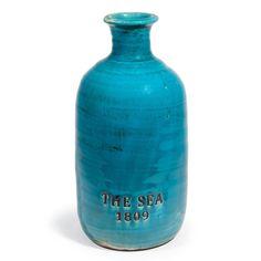 Vase PHOCÉON aus Steinzeug, H 35cm, blau
