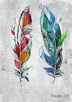 geometric watercolour feather tattoo
