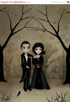 OnSale  Dark Romance Goth Art Print  BETROTHED  8x10 by RusticGoth, $13.00