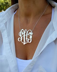 Special Price !!  This large necklace list price is 59$, now for limited time only at 42.95$    This monogram necklace can be a great gift