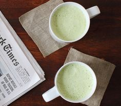5 Things to Make with Matcha: Thumbprint cookies, Matcha Tea Latte, Matcha Chia Pudding, Matcha Frozen Yogurt, and Matcha Tea, Avocado, and Mango Smoothie
