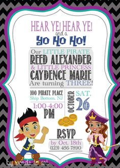 CUSTOM Pirate and Princess Birthday Invitations -- Jake and the Neverland Pirate - boy - girl- twins on Etsy, $11.25