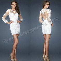 Online Shop New Arrival Sheath Boat Neckline Long Sleeves Short/Mini White Appliques Lace Sexy Cocktail Dresses 2014 Aliexpress Mobile