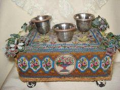 antique victorian romantic memorial beadwork altar bead embroidery masonic???   eBay