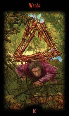 10 de bâtons - Legacy of the Divine Tarot par Ciro Marchetti