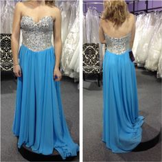 Sexy Light Blue Prom Dresses Featuring Rhinestones Beaded Bodice With Sweetheart Neckline Floor Length Chiffon Formal Dresses