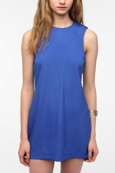Naven Silky Strong Shoulder Shift Dress   #UrbanOutfitters