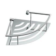 Delta 8 in. Glass Corner Shelf with Hand Towel Bar in Polished Chrome-HEXTN16-PC - The Home Depot Bathroom Shelves For Towels, Bathroom Rack, Towel Shelf, Shower Shelves, Glass Corner Shelves, Corner Wall, Corner Shelf, Shower Basket, Triangle Shelf