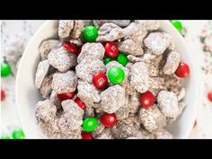 14 Cups Chex cereal 18 oz holiday m&ms 12 oz semi sweet chocolate bar or chips Cup unsalted butter 1 Cup peanut butter 1 tsp vanilla extract Cups powdered sugar Easy Christmas Treats, Christmas Sweets, Christmas Goodies, Holiday Baking, Christmas Desserts, Christmas Baking, Holiday Treats, Holiday Recipes, Christmas Muddy Buddies Recipe