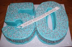 Blue And Silver buttercream icing and scrollwork painted w/ luster dust. 50th Birthday Cake For Women, Blue Birthday Cakes, Moms 50th Birthday, Birthday Sheet Cakes, Fifty Birthday, 50th Party, 40th Birthday Parties, Birthday Woman, Birthday Fun