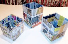 """""""Origami Trash Can Out Of Newspaper !One Good Thing by Jillee Diy First Aid Kit, Umbrella Wreath, Baby Rag Quilts, Pots, Crafts For Kids, Diy Crafts, Newspaper Crafts, Crafty Craft, Crafting"""