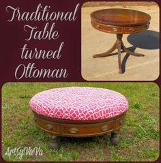 Artsy VaVa: Traditional Table Turned Ottoman ~ shared at DIY Sunday Showcase Link Party on VMG206 (Saturdays at 5pm CST). #diyshowcase
