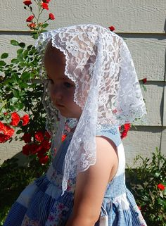 White lace Chapel Veil for children with 1 inch by ZeliesVeils