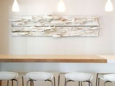 High table seating & wall mural. Wall Seating, Wall Murals, Floating Shelves, Salmon, Bakery, Restaurant, Future, Table, Home Decor